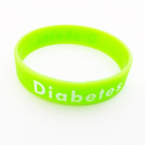 "Silicone bracelet ""Diabetes"" light green"