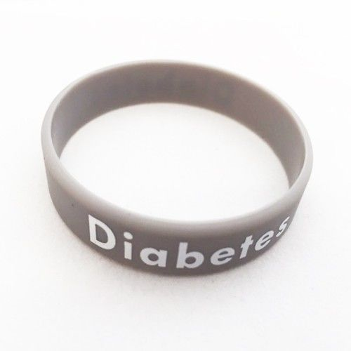 "Silicone bracelet ""Diabetes"" grey"